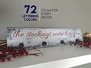 Ssxuxi-Wood Sign Christmas Stocking Hanger, The Stockings were Hung Decor, Wooden Christmas Stocking Décor