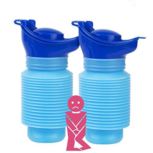 HOOMAGIC 2 Paquetes Urinario de Emergencia Reutilizable portátil Botella de orina Urinario Viaje Plegable para Viajes Camping para Niños y Adultos