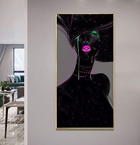 ganlanshu Abstrakte Schwarze Graffiti-Kunstmalerei auf Leinwandporträt-Porträtwandkunstplakat und -Druck,Rahmenlose Malerei,70x125cm