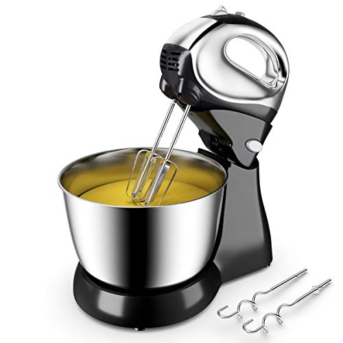 COSTWAY Stand Mixer, 5-Speed 200W Stand Mixer Hand Mixer with Stainless Steel Mixing Bowl, Dough...