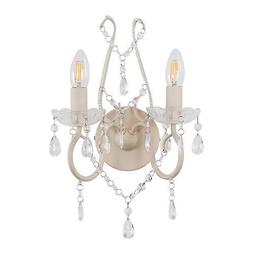 MiniSun – Elegante 2-flammige Wandleuchte aus mattweißem Metall im antik aussehenden Shabby Chic Stil mit transparenten Juwelen aus Acryl – Wandlampe
