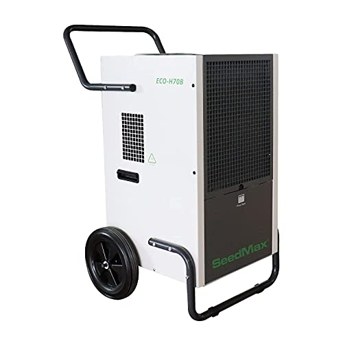 SeedMax 138 Pint Greenhouse Steel Portable Industrial Commercial Dehumidifier For Growing Plants Crawl Spaces, Basements