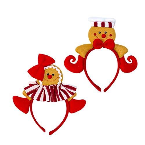 Amosfun 2 Pcs Christmas Headwear Gingerbread Man Bowknot Hair Hoop Cute Headband Xmas Holiday Party Supplies Gifts (Cook Hat and Bow)