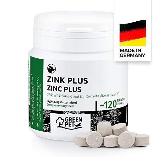 GreenPet Zink für Hunde 120 Tabletten - Zinktabletten Plus mit Vitamine bei trockener Haut, Juckreiz Hund, Haarausfall, Immunsystem stärken, Fellwechsel, Zink Hund für Krallen & Fell