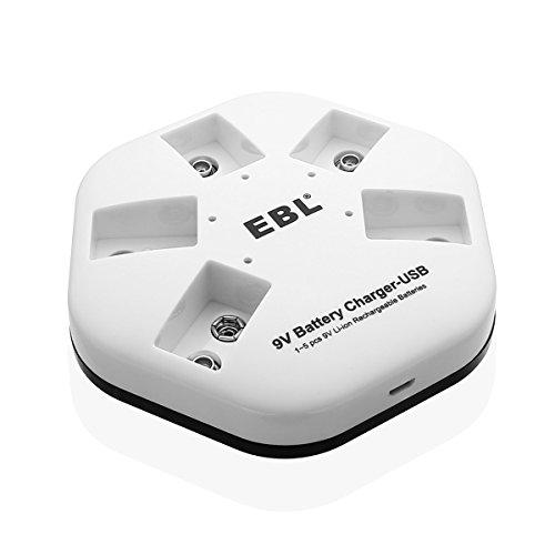 EBL USB 9v Akku Ladegerät für 9v Li-ionen Akku, individuelle Slots für 1 bis 5 St. 9v Block Akku mit LED Anzeige, inkl. USB Ladekabel