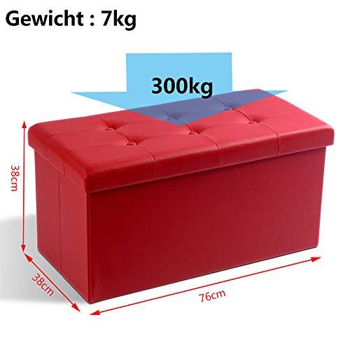 Zedelmaier Sitzhocker Sitzbank faltbar mit Stauraum belastbar bis 300 kg 76 x 38 x 38 cm(Dunkelrot) - 2