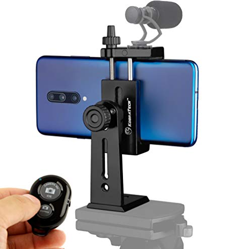 KobraTech Metal Cell Phone Tripod Mount - UniMount 360 Pro Heavy Duty iPhone Tripod Mount with Remote