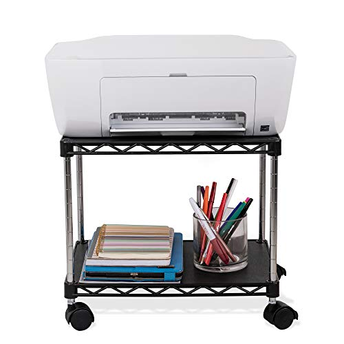 ZBRANDS // Printer Cart, Mobile Fax Stand with Swivel Wheels, Black Finish, 2 Tiers Heavy Duty (Mini)