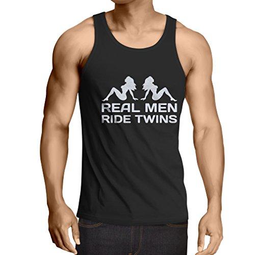 lepni.me Camisetas de Tirantes para Hombre Los Verdaderos Hombres montan Gemelos - Citas de Motos, Humor para Adultos, Refranes para Gemelos Graciosos (XXXXX-Large Negro Blanco)
