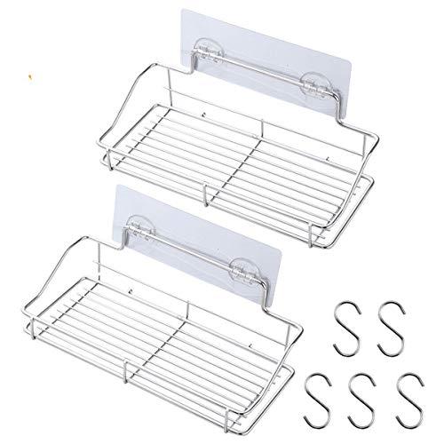2個304ステンレス浴室ラック浴室またはキッチンセラミックタイルの強い吸盤鋼シャワーラック
