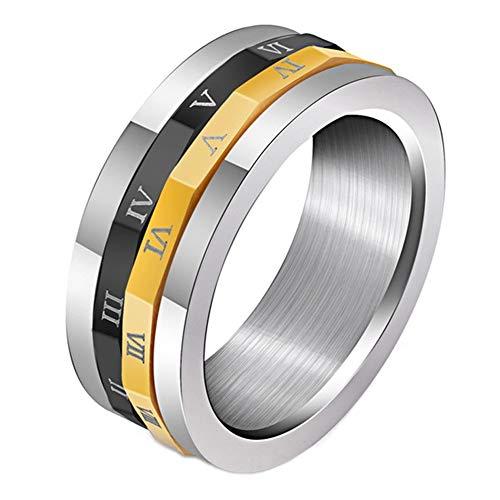 OAKKY Herren Spinner Römische Ziffern Ring Hochzeit Drehen Schwarz Gold Versprechen Band Edelstahl, Größe 50 (15.9)