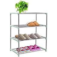 CKSUNG Stackable Small Shoe Rack, Shoe Storage Shelf Organizer, Ideal for Entryway, Living Room, Hal...