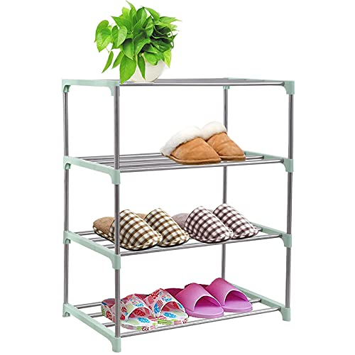 CKSUNG Stackable Small Shoe Rack, Shoe Storage Shelf Organizer, Ideal for Entryway, Living Room, Hallway (Green, 4 Tier)