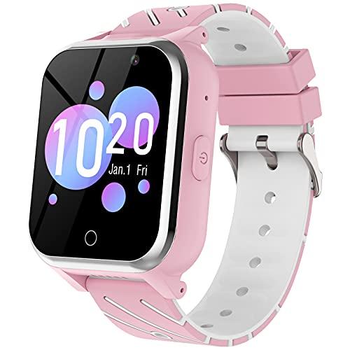 Reloj Inteligente Para Niños - MP3 Música 17 Juegos Smartwatch Niños Chat de Voz SOS linterna Cámara Vídeo Digital Pantalla Táctil HD Deporte Reloj de Pulsera Digital Para Niños De 4-12 Años(Rosa)