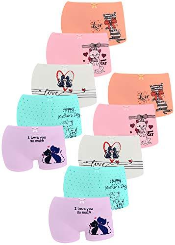 LOREZA ® 10er Pack Mädchen Pantys Boxershorts Unterwäsche aus Baumwolle (140/146, K-9147)