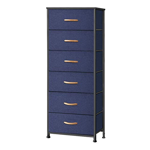 Pellebant 6 Drawers Vertical Storage Tower- Fabric Dresser, Sturdy Metal Frame, Fabric Storage Bins with Wooden Handle and Wooden Top, Organizer Unit for Bedroom/Closet/Hallway/Entryway, Blue