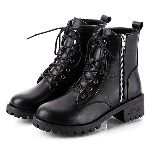 N / A Mujeres Botas De Cabeza Redonda de bajo Perfil Tobillo de Las Mujeres Botas, Zapatos Tamaño: 35 (Color : Negro)