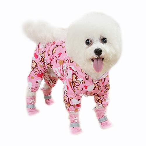 BBEART Dog Raincoats, Cute Monkey Four-Legged Pet Raincoat Rain Jacket Jumpsuit Rain Poncho Coat Slicker Long Sleeves Rainproof Hoodie Clothes for Small Dogs Cool (S, Pink)
