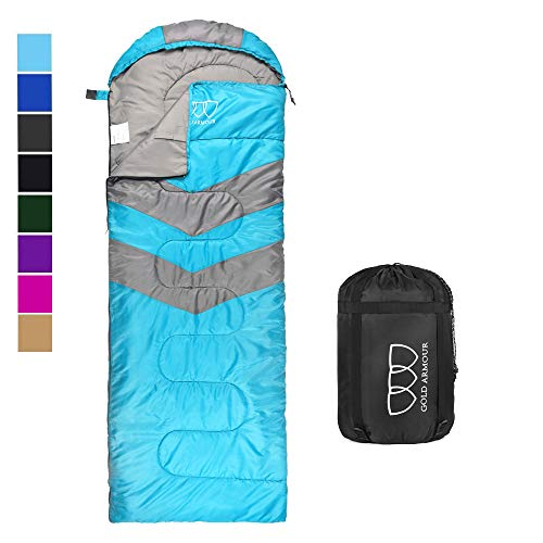 Sleeping Bag – Sleeping Bag for Indoor & Outdoor Use - Great for Kids, Boys, Girls, Teens & Adults. Ultralight and Compact Bags for Sleepover, Backpacking & Camping (Sky Blue / Gray - Right Zipper)