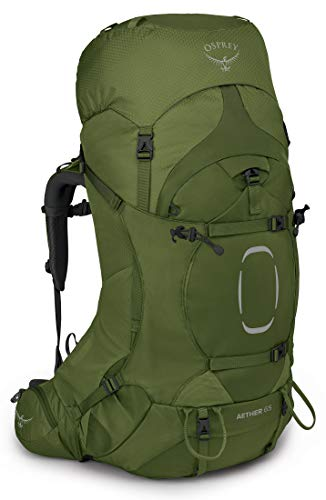 Osprey Aether 65 Mochila de Hombre para excursiones  Verde  Garlic Mustard Green   Talla