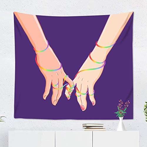 Qryipd Tapestry Wall 50 X 60 Inch Two Women Holding Hands Purple Lesbian Couple Valentine Day Print Polyester Wall Decor for Bedroom Livingroom Dorm Decoration