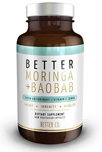 Moringa + Baobab 120 Capsules - Antioxidant + Vitamin C Combo - Supporting Energy + Immunity + Vitality - The 'Miracle Tree' & The 'Tree of Life' Vegetarian Capsules -  NPN, 860361002521