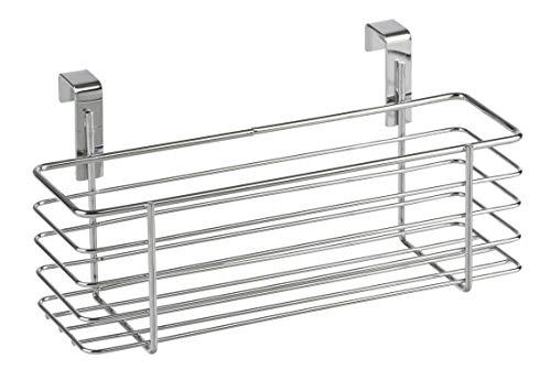 WENKO Einhängekorb Slim, Organizer zum Einhängen an Schublade oder Schranktür, geeignet für Badezimmer und Küche, ohne Bohren, aus verchromten Metall, 24 x 11,5 x 10 cm