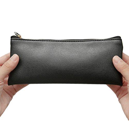 Aprilelst matita bag matita di cuoio durevole colore solido liscia in vetro della borsa cosmetici per donne ragazza studenti Black