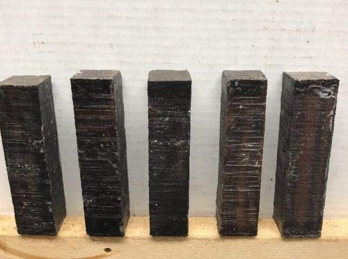 5 Pcs of Macassar Ebony Pool Cue Blank Turning Wood Knife Scales 1.5
