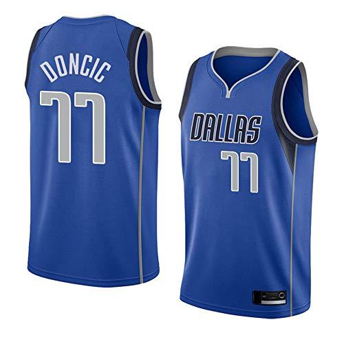 SHR-GCHAO Camiseta De Baloncesto NBA Dallas Mavericks # 77 Luka Doncic para Hombre, Camiseta Deportiva De Baloncesto con Cuello En V Transpirable Y Resistente Al Desgaste,Azul,XXL(185~190cm)