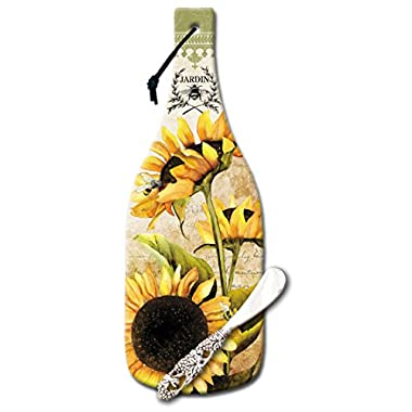 CounterArt Wine Bottle Shaped Sunflowers in Bloom Glass Cheese Board with Spreader Knife, 12-1/2-Inch