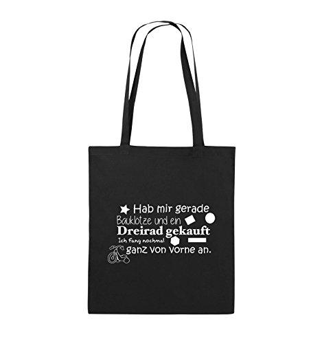 Comedy Bags - Hab Mir gerade Bauklötze und EIN Dreirad gekauft - Neuanfang - Jutebeutel - Lange Henkel - 38x42cm - Farbe: Schwarz/Weiss