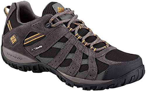 Columbia Men's Redmond Waterproof Hiking Shoe, Black, Squash, 9 D US