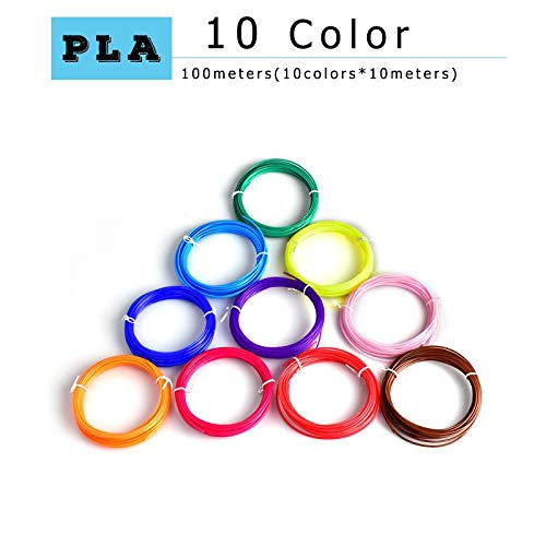 without KF-3D, 3d printing pen pla 1.75mm pla filament Best Gift for Kids perfect 3d pen 3d pens Environmental safety plastic (Color : 10 m 10 colors PLA)