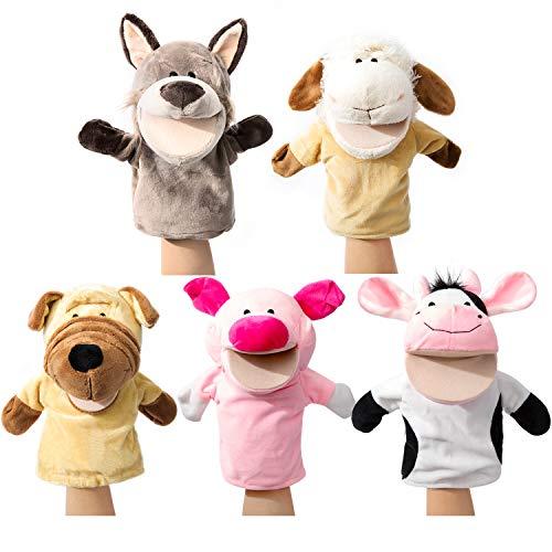 Granja de marionetas de mano de animales con felpa móvil de boca abierta Juguetes de simulación perfectos para contar historias, enseñar, preescolar, juegos de roles (5 piezas)