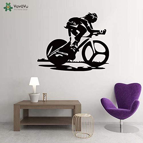 Racefiets Vinyl muursticker Art Design Woondecoratie Verwijderbaar behang voor sportschool Sportbar Winkel Fitnessruimte