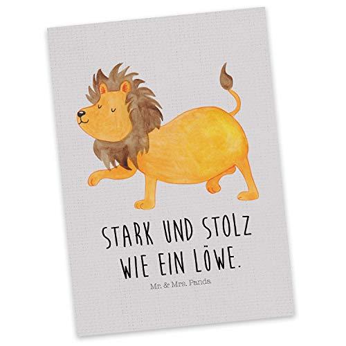 Mr. & Mrs. Panda Einladung, Grußkarte, Postkarte Sternzeichen Löwe mit Spruch - Farbe Grau Pastell