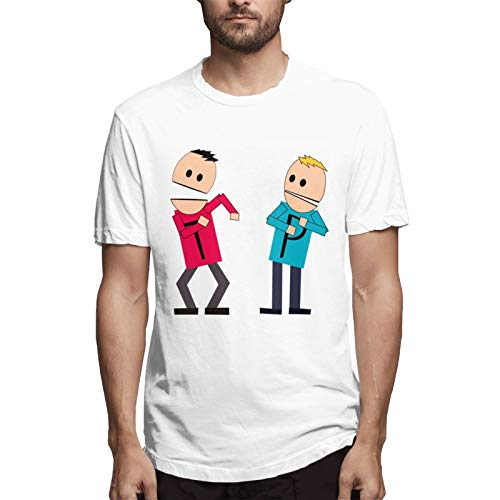 Men's 3D Creative Print Hip Hop Terrance and Phillip Graphic T-Shirt 100% Cotton Beefy Short Sleeve Tees Blouse Tops White