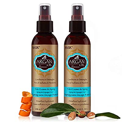 HASK Repairing ARGAN OIL 5-in-1 Leave In Conditioner Spray for all hair types, color safe, gluten free, sulfate free, paraben free - ARGAN OIL 2 PIECE SET from HASK Beauty