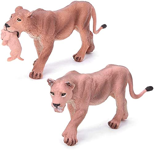 HLD animal toys for kids Lioness Doll Toy Simulation Lioness With Cub Animal Model Toy Ornaments Home Decoration Collection Gifts Birthday Party Gifts Children's Toys animal toys for kids
