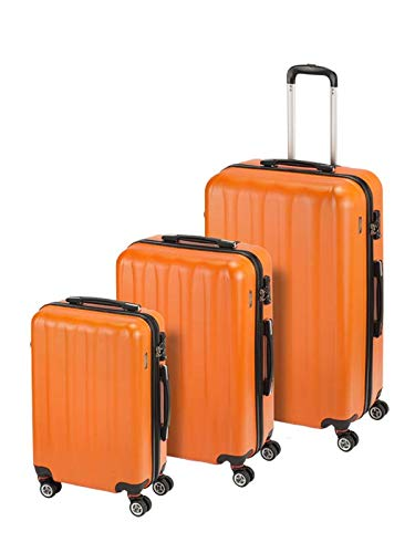 Princess Traveller Hollywood Polycarbonate TSA Lock Traveller Koffer-Set, 78 cm, 198 Liter, Orange