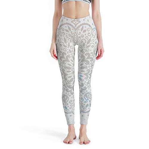O5KFD&8 Mandala Leggings de Yoga pour Femme Style rétro Push Up Gris Mandala Sport Yoga Pantalon de Sport Course Enge Leggings Femme XXL Blanc