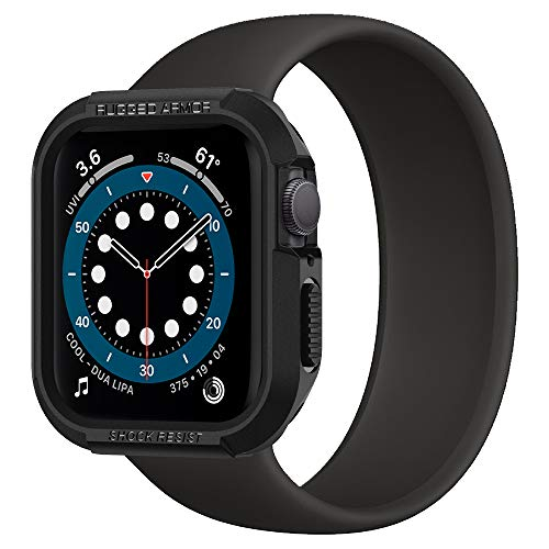 Spigen Rugged Armor Compatible con Apple Watch Funda para 44 mm Series 6/SE/5/4 - Negro