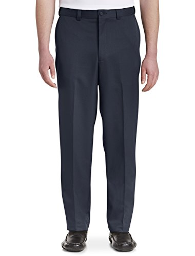 Oak Hill by DXL Big and Tall Waist-Relaxer Flat-Front Microfiber Pants- New Improved Fit, Navy, 52 X 28