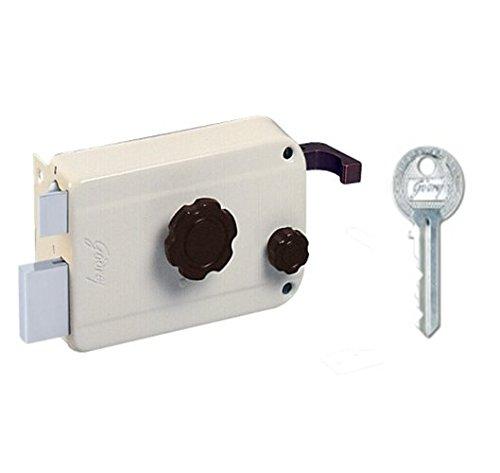 Godrej Locks 9104 Key Rim Lock (Beige and Brown, Polished Finish)