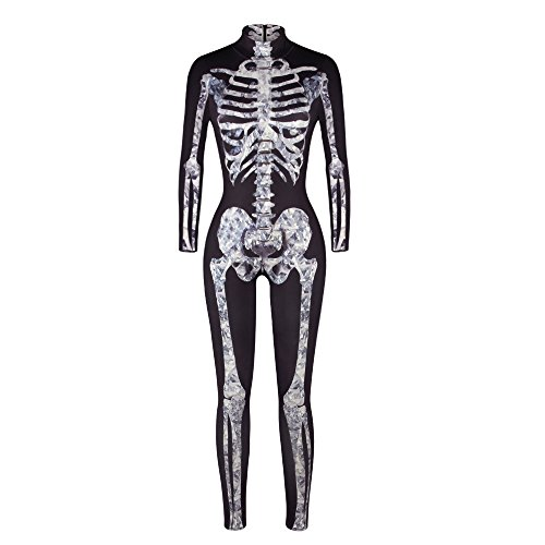 Moon&Miss Womens Skeleton Print Bodycon Fullbody Catsuit Jumpsuits White