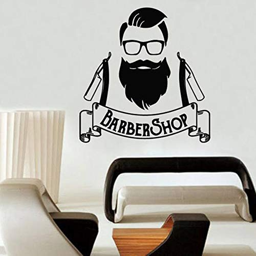yuandp Barbershop vinyl wandapplicatie kapperswinkel logo teken venster Art Deco Design wandtattoo beauty salon kapper wastafel 44 x 42 cm