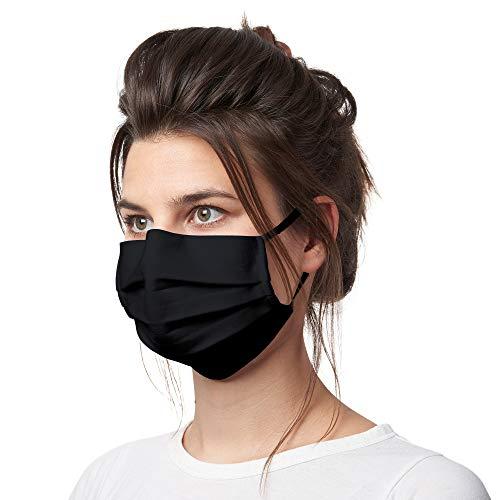 Bahidora Maske schwarz, Maske Stoff, Alltagsmaske waschbar, Maske Baumwolle, Gesichtsmaske schwarz, integrierter Nasenbügel, Made in Portugal