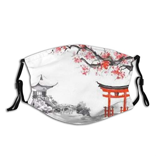 HUAYEXI Gesichtsbedeckung,Roter Pavillon Japanische Bambusbäume Sonne und Berge wasserdichte asiatische Tuschemalerei,Wiederverwendbar Winddicht Staubschutz Mund Bandanas Outdoor Mit 2 Filtern