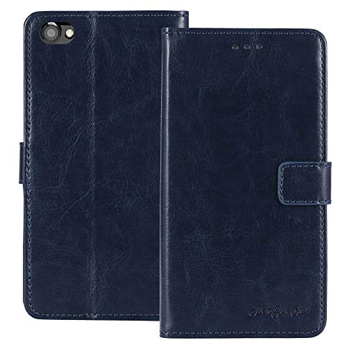 TienJueShi Dark Blue Book Stand TPU Silicone Retro Flip Leather Protector Case for Vernee Thor Plus 4G 5.5 inch Gel Cover Etui Wallet